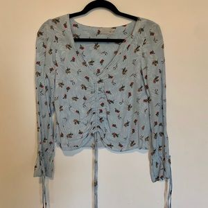 Urban Outfitters Ruched Long Sleeve Top Small